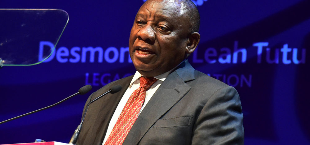 Ramaphosa stays mum on Nene as he delivers Tutu lecture with forceful focus on land