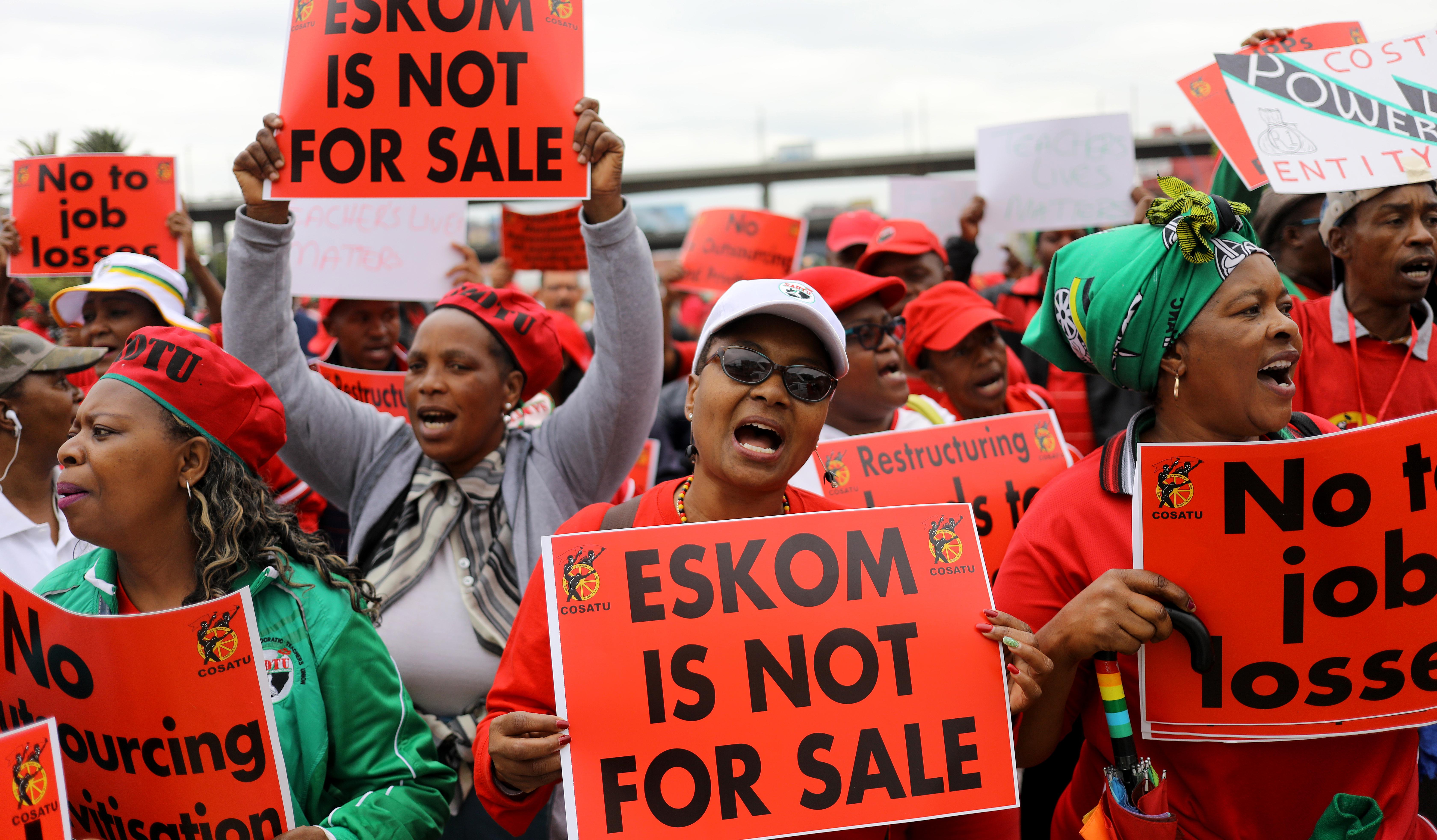 Cosatu marches against Eskom restructuring and possible