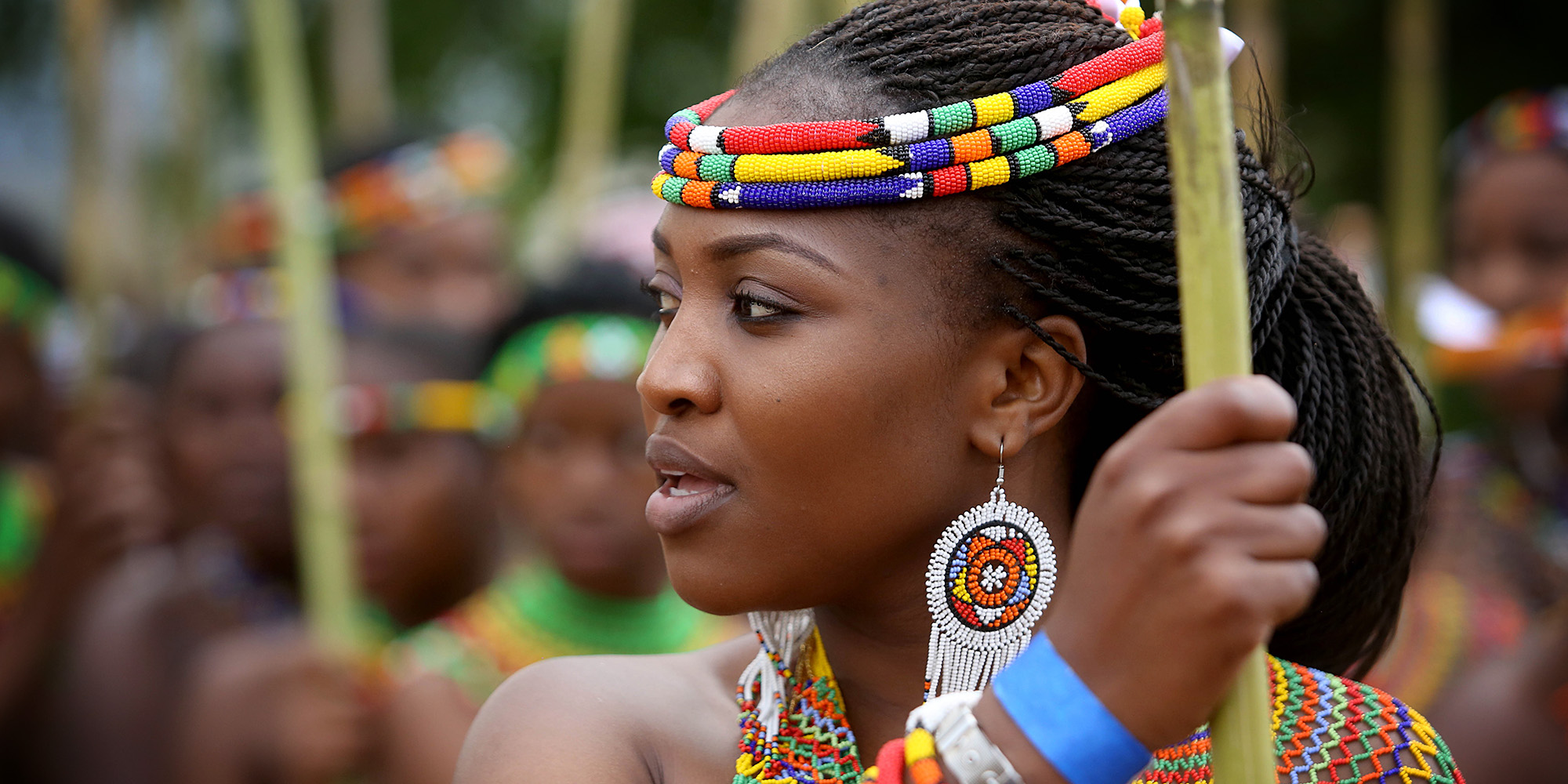 Traditional Ceremonial Attire of Zulu tribes reed dance