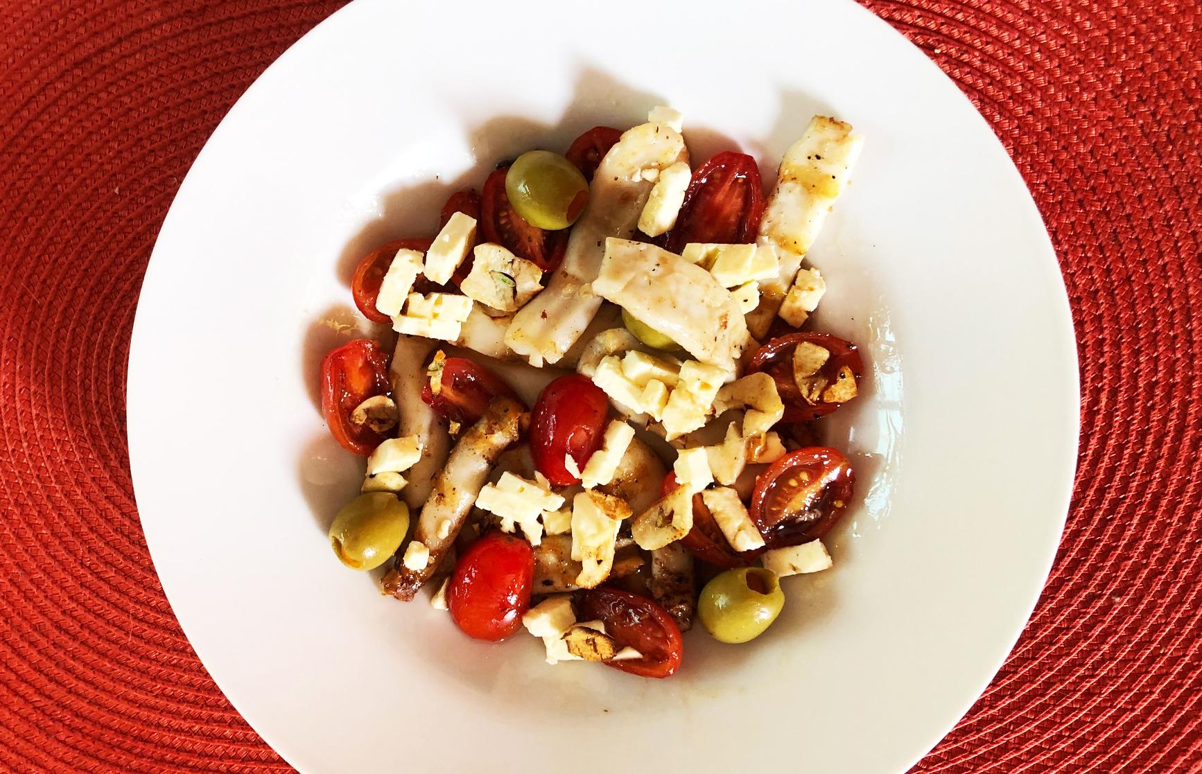 Warm Calamari Salad with Green Olives, Garlic and Feta