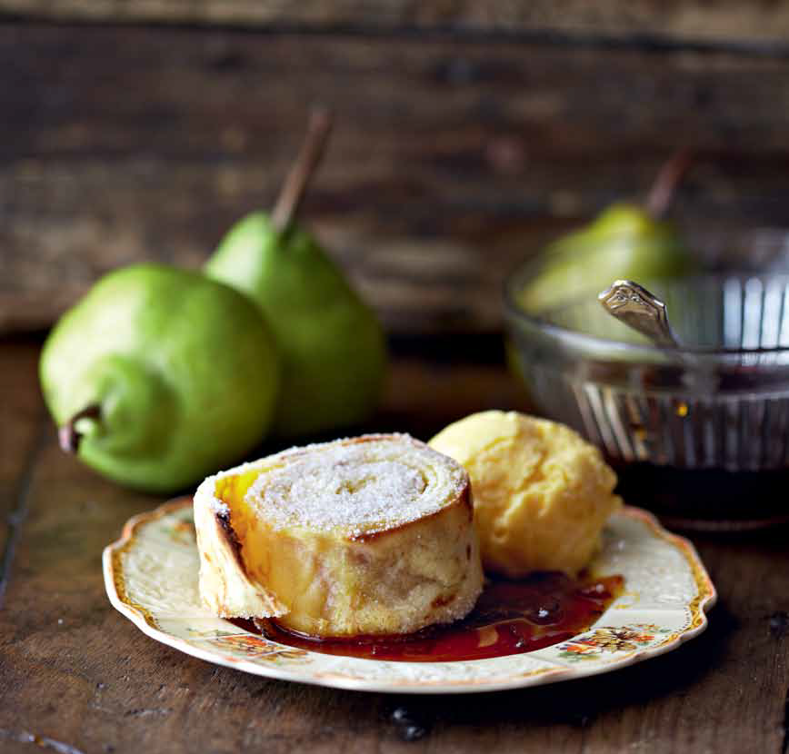 TGIFOOD: Lockdown Recipe of the Day: Baked pancake roll with pear and brandy sauce