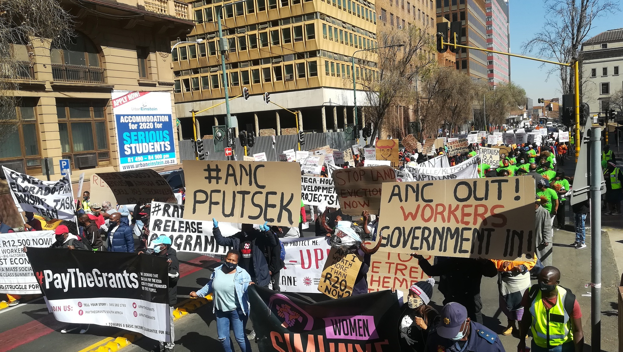 Hundreds protest in JHB against government's response to Covid-19 - Daily Maverick