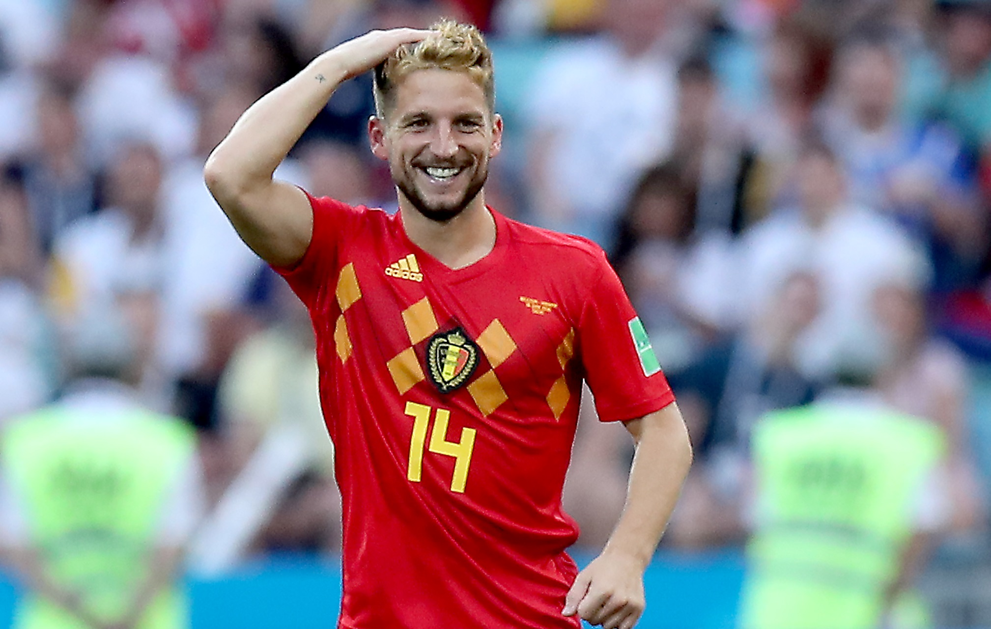 f1649cb3a97 Dries Mertens of Belgium reacts after scoring during the FIFA World Cup 2018  group G preliminary round soccer match between Belgium and Panama in Sochi