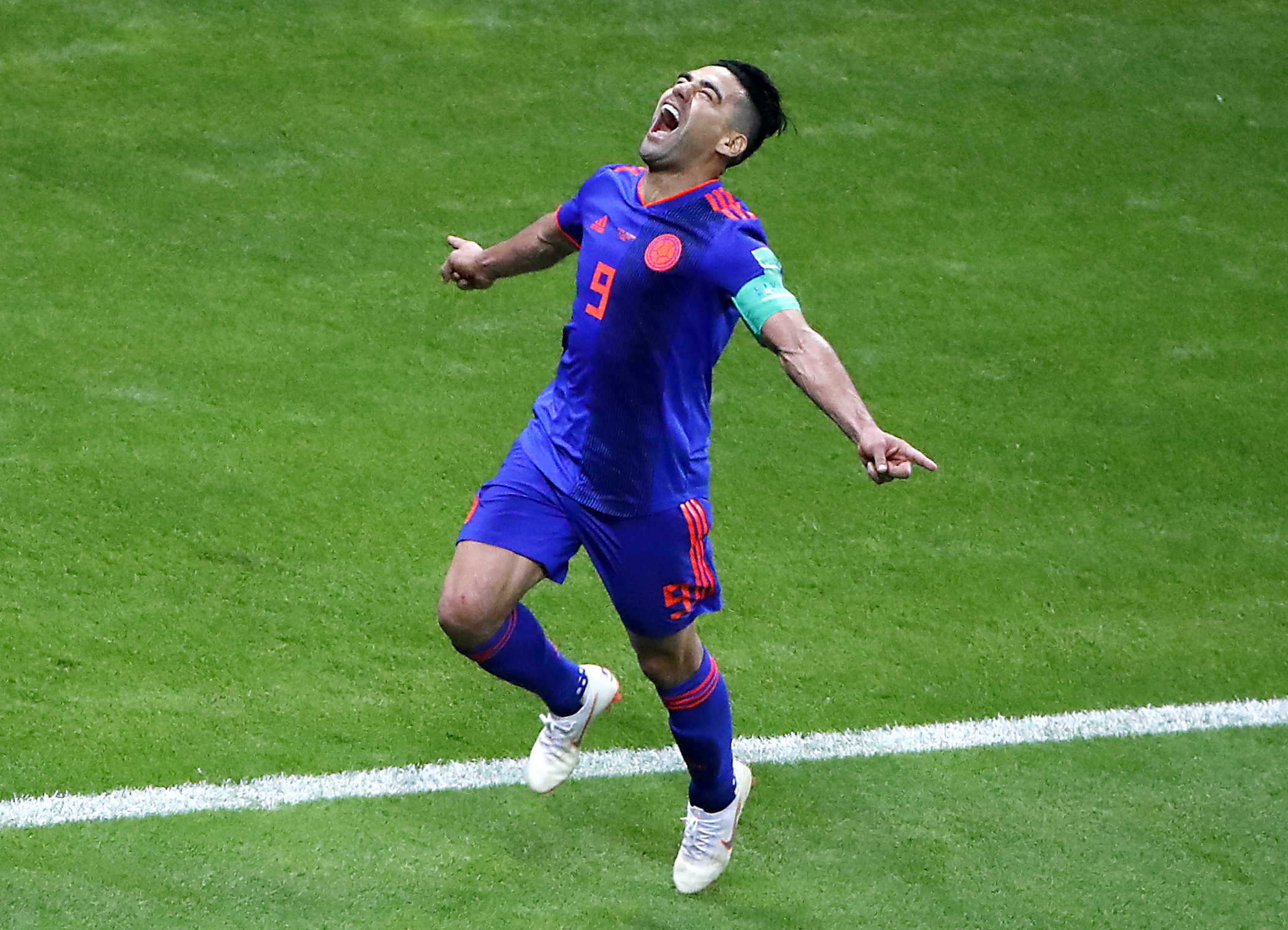 9f2d380fa33 Radamel Falcao of Colombia celebrates scoring the 2-0 goal during the FIFA  World Cup 2018 group H preliminary round soccer match between Poland and  Colombia ...