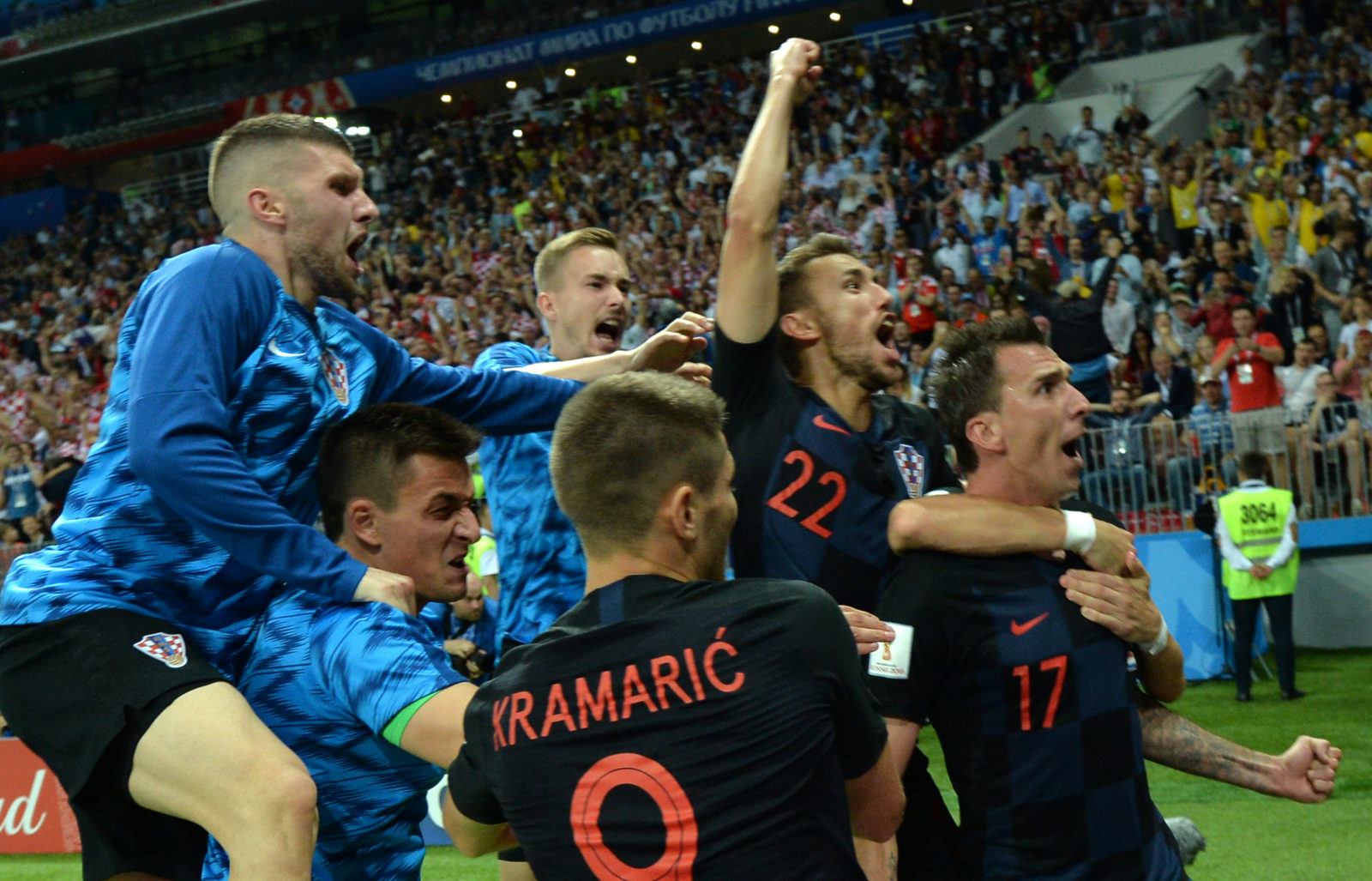 d6d9deea55c ... of Croatia celebrates with teammates after scoring the 2-1 lead during  the FIFA World Cup 2018 semi final soccer match between Croatia and England  in ...