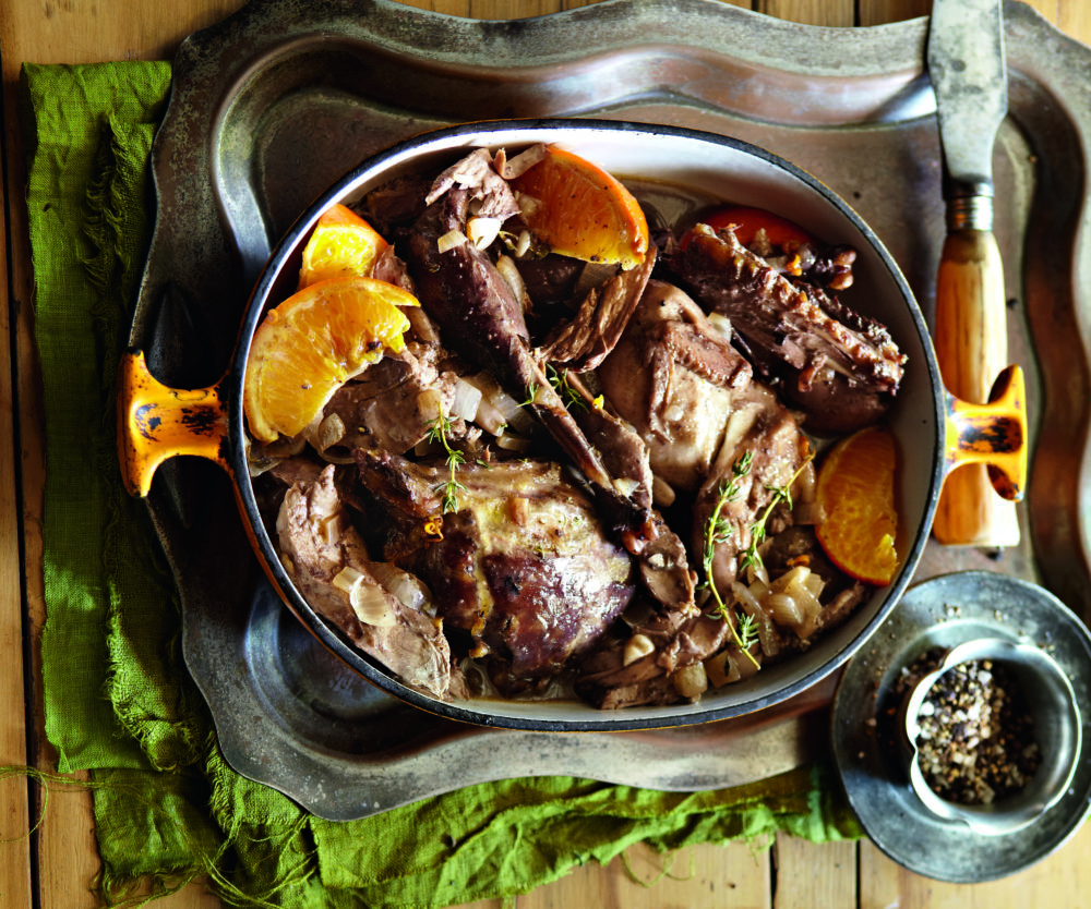 Game bird potjie with oranges and ginger