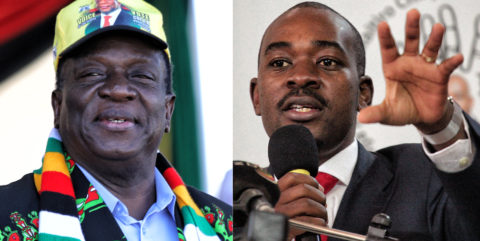 2018 Zimbabwe elections - the main players: Zanu-PF's incumbent Emmerson Mnangagwa (75) vs MDC Alliance's Nelson Chamisa (40)